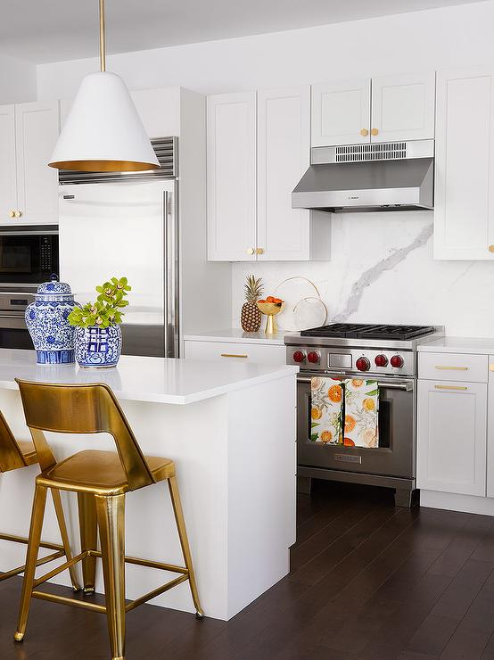 White And Gold Kitchen Accents Transitional Kitchen