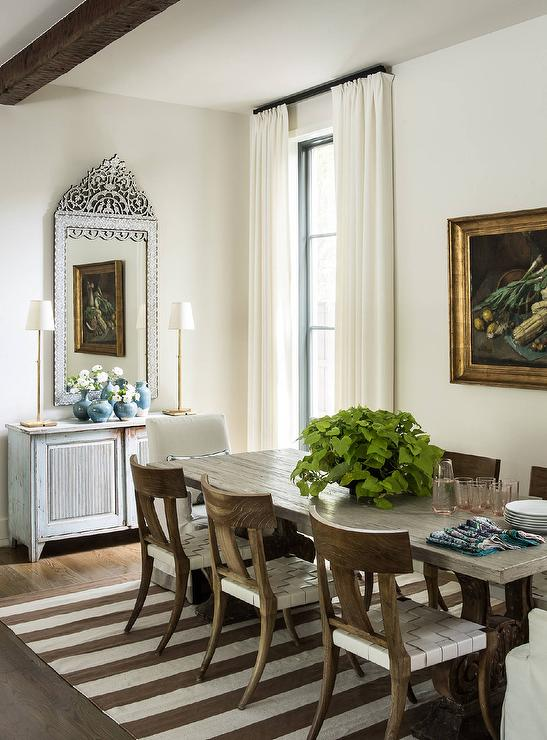 Wood Klismos Dining Chairs With White Leather Basketweave Seats Transitional Dining Room