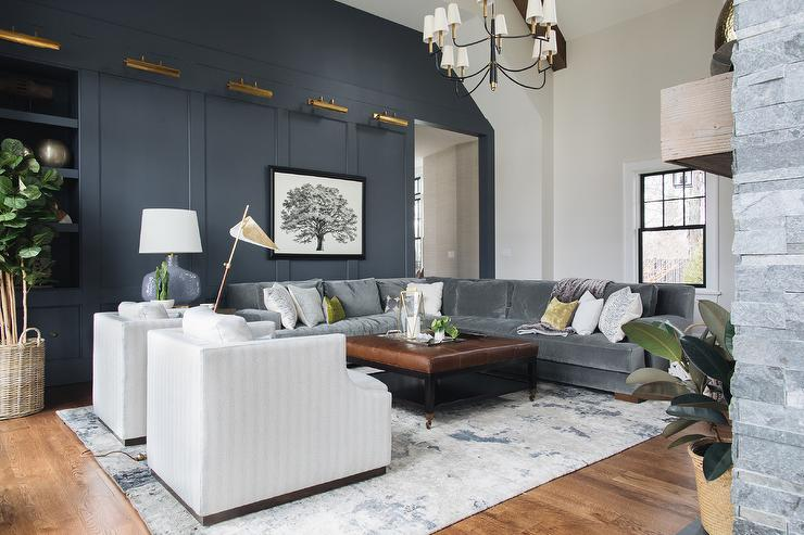 Dark Blue Paneled Wall with Antique Brass Picture Lights ...