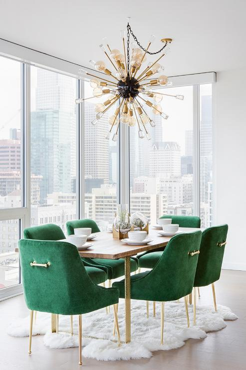 Emerald Green Velvet Dining Chairs With Brass And Wood Table