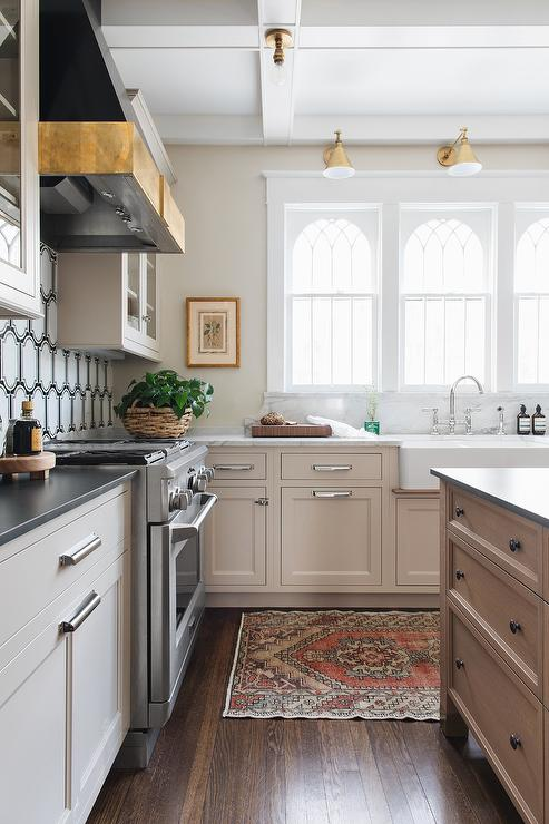 Tan And Red Wool Rug With Light Taupe Kitchen Cabinets Transitional