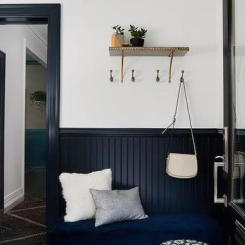 Black Beadboard Trim With Royal Blue Velvet Bench
