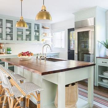 Alyssa Rosenheck: Mint Green Kitchen Island With Butcher Block Wood  Countertop