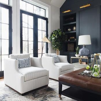 Dark Blue Paneled Living Room Wall Design Ideas