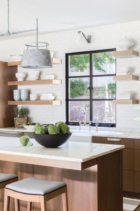 Medium Stained Oak Kitchen Cabinets with White Quartz ...