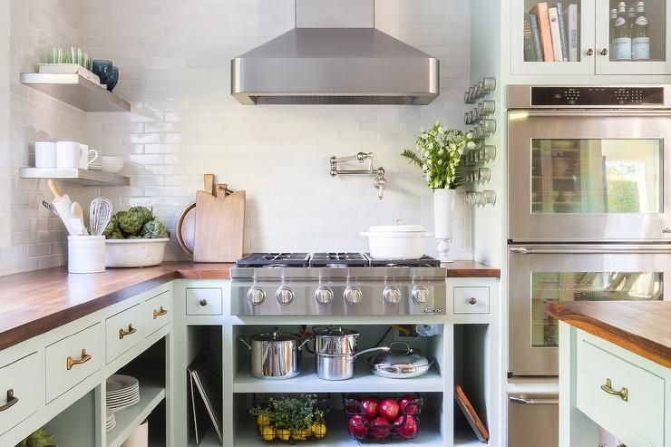 Alyssa Rosenheck Mint Green Kitchen Cabinets With No Doors Transitional Kitchen