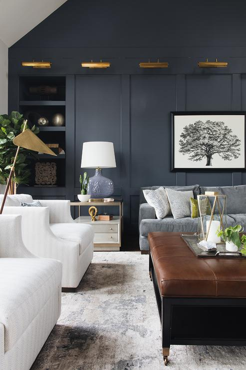 Living Room With Blue Paneled Accent Wall Transitional Living Room