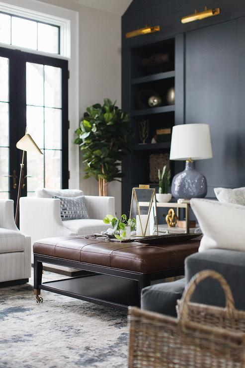 Navy Blue Sofa Transitional Living Room House Beautiful