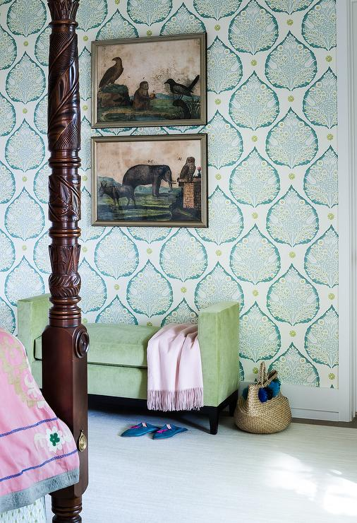 Turquoise Blue Lotus Print Wallpaper with Green Bench ...