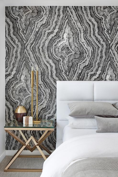 White And Black Agate Wallpaper With White Channel Tufted Headboard