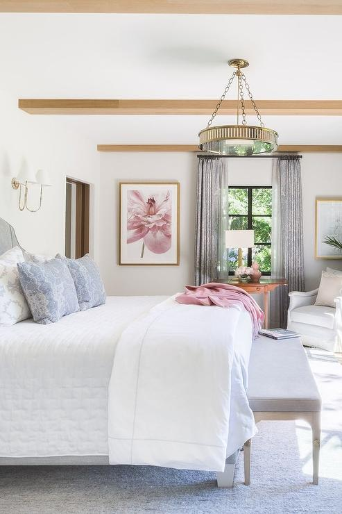 White Bedroom With Light Blue And Light Gray Accent Colors