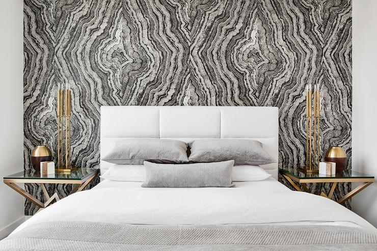 White Headboard With Black And White Accent Wall Transitional Bedroom