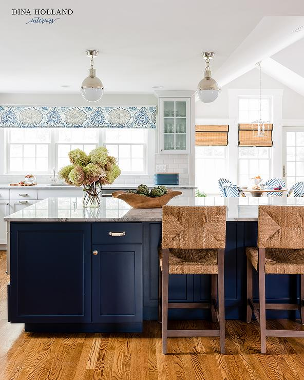 Welcoming White Kitchen Is Illuminated By Regina Andrew: White KItchen Cabinets With Blue Mini Brick Backsplash Tiles