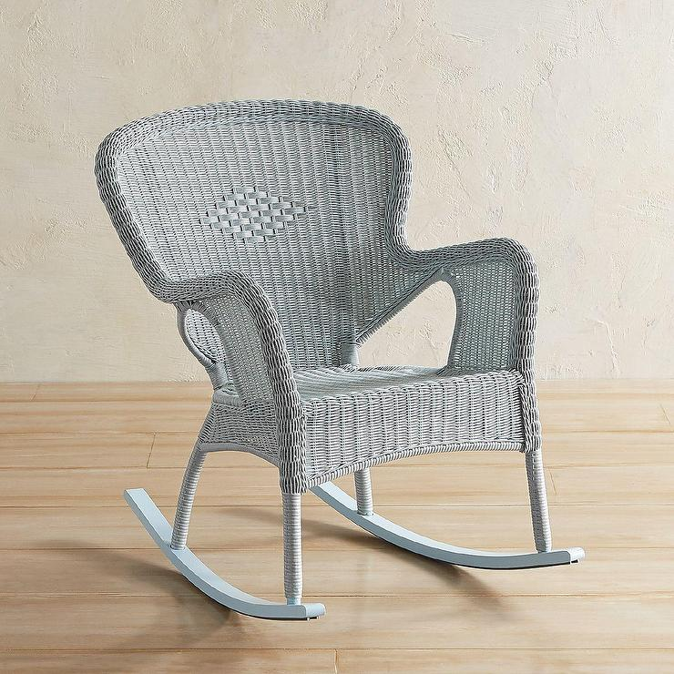 Coco Cove Curved Light Blue Wicker Rocking Chair