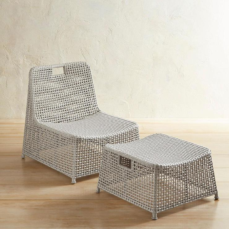 Prime Laki Light Gray Wicker Nesting Lounge Chair Ottoman Pabps2019 Chair Design Images Pabps2019Com