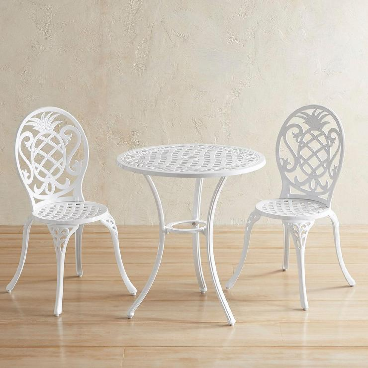 Isla White Cast Aluminum Bistro Set