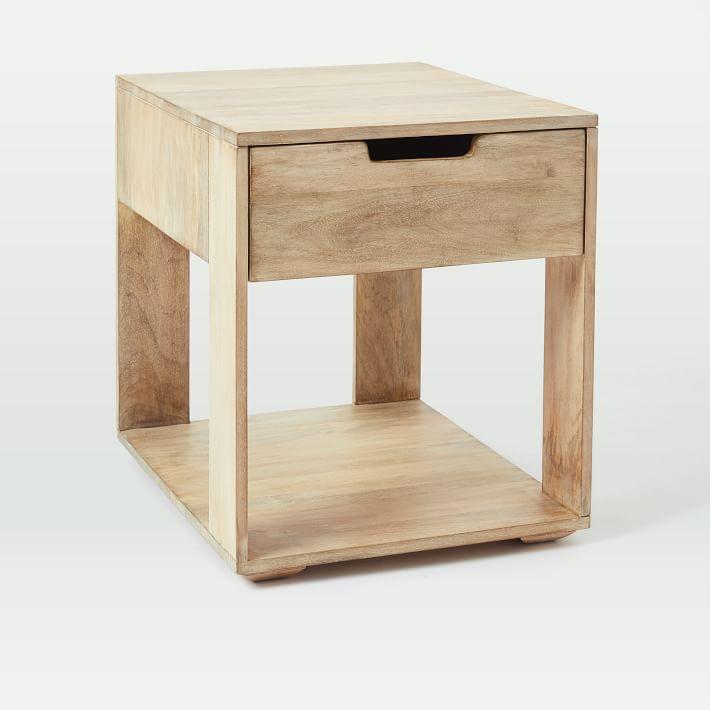 & Pure Whitewash Wood 1 Drawer Storage Side Table