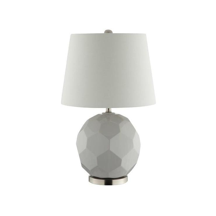White Astra Nickel Table Lamp
