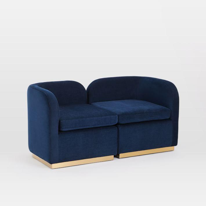 roar rabbit tete a tete navy velvet brass chair