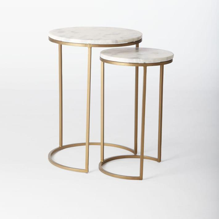 Carrera Marble Brass Nesting Coffee Table