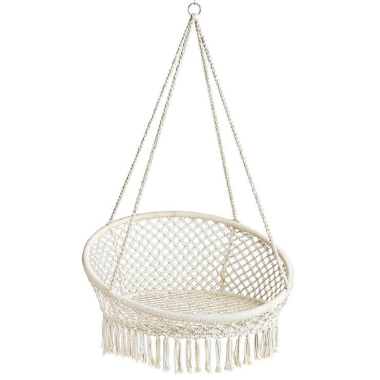 Groovy Round Small White Macrame Hanging Saucer Chair Squirreltailoven Fun Painted Chair Ideas Images Squirreltailovenorg