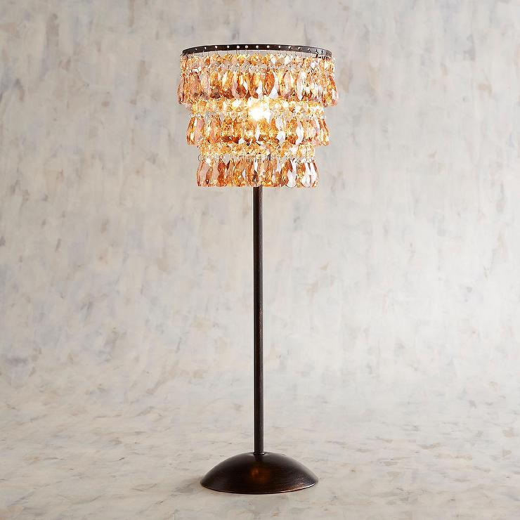 Glistening Amber Crystal 3 Tier Bronze Table Lamp