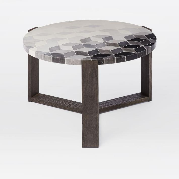 Terrific Round Gray Mosaic Tiled Wood Outdoor Coffee Table Ocoug Best Dining Table And Chair Ideas Images Ocougorg