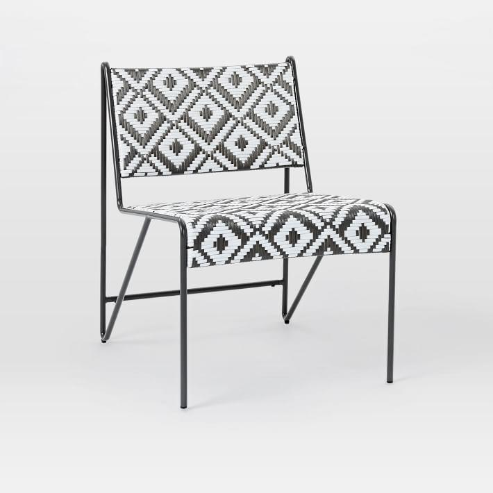 Peg Woodworking Black White Outdoor Lounge Chair