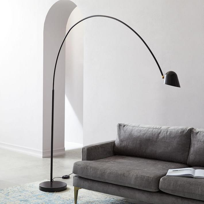 Overarching boom arm black metal floor lamp aloadofball Image collections