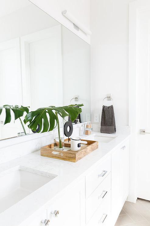 White Bathroom With Palm Leaf In Vase Transitional Bathroom
