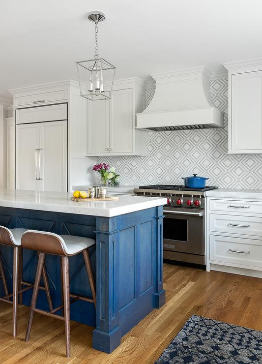 Blue Washed Kitchen Island With Low Back Stools