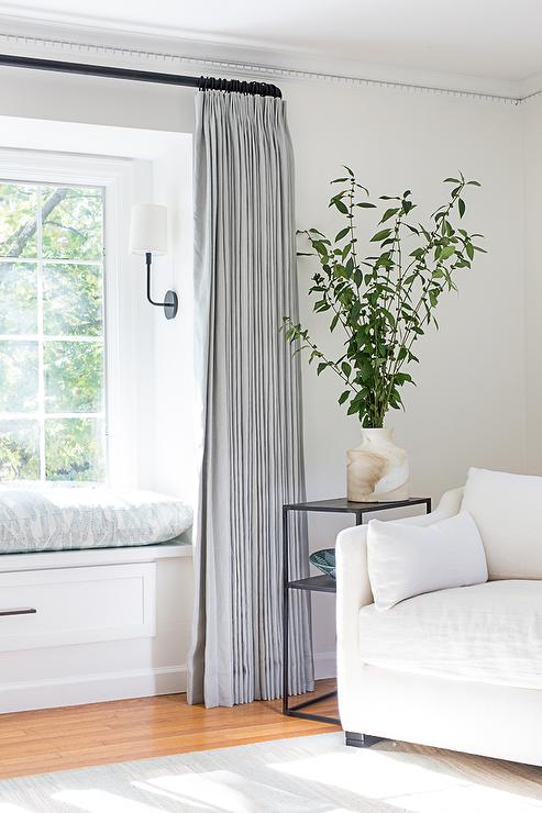 Bedroom Window Seat with Steel Gray Curtains - Transitional ...