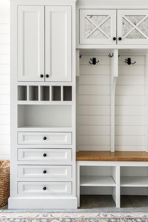 Wood Mudroom Bench With Drawers Transitional Entrance