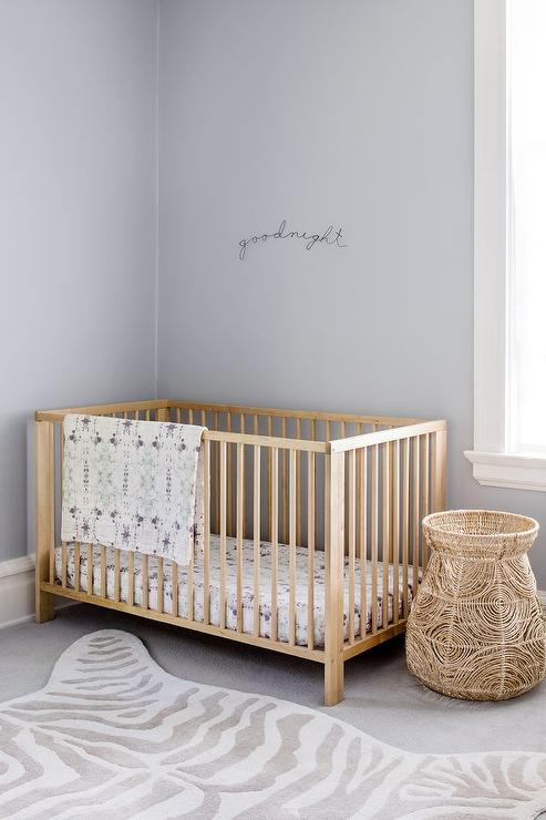 Gray Nursery With Purple Accents Transitional Nursery