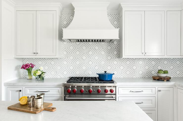 White And Gray Diamond Pattern Backsplash Tiles Transitional Kitchen