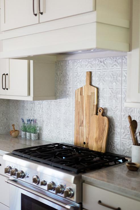Gray Tin Kitchen Backsplash Tiles - Cottage - Kitchen
