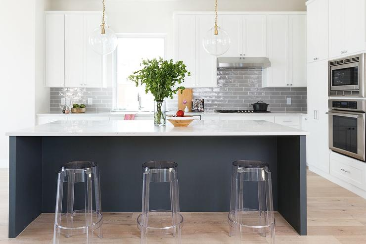 Black Kitchen Island With Storage Cabinets Transitional