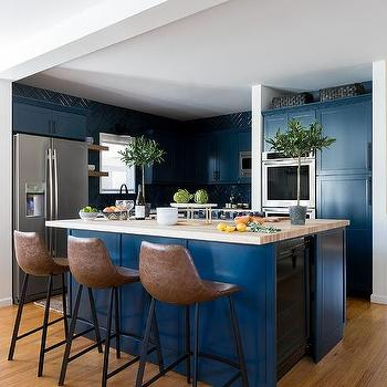 Brown And Blue Kitchens Transitional Kitchen