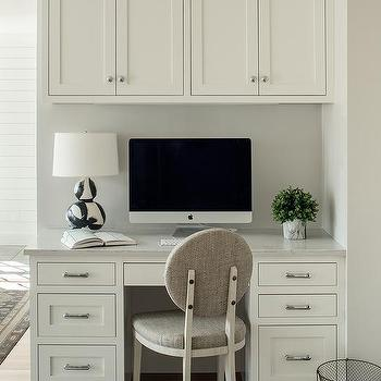 Gray Round Back Chair At Built In Kitchen Desk