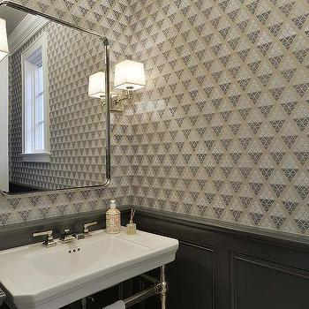 Powder Room Dark Gray Wainscoting Design Ideas