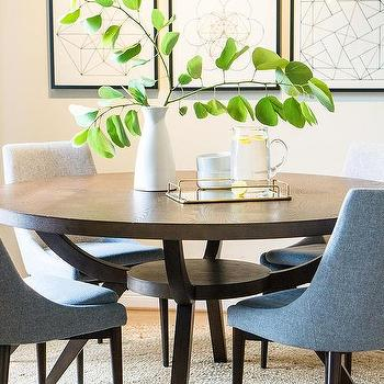 Blue Chairs At Dark Brown Wood Dining Table Design Ideas