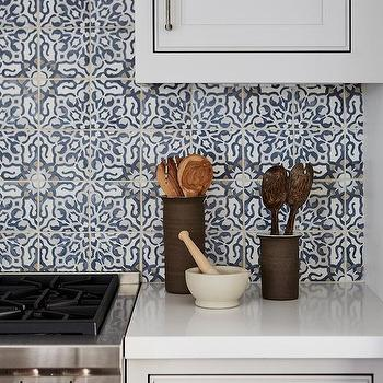 Blue Mediterranean Mosaic Kitchen Backsplash Tiles Design Ideas