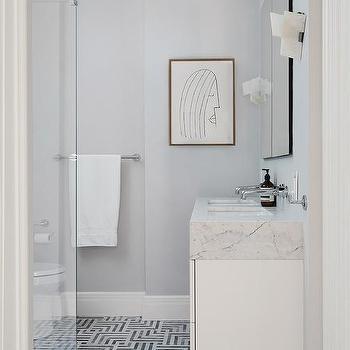 Black And White Geometric Bath Floor Tiles Design Ideas