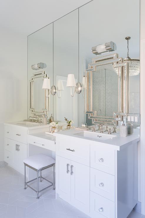 Pearl Beaded Greek Key Mirrors on Full Length Bathroom Wall Mirrors ...