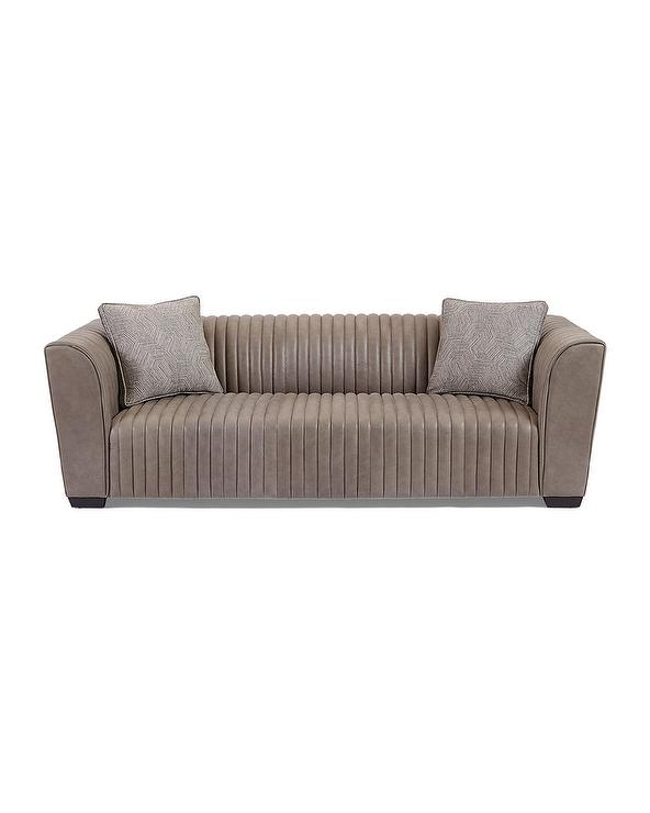 Excellent Kent Leather Channel Tufted Gray Sofa Forskolin Free Trial Chair Design Images Forskolin Free Trialorg