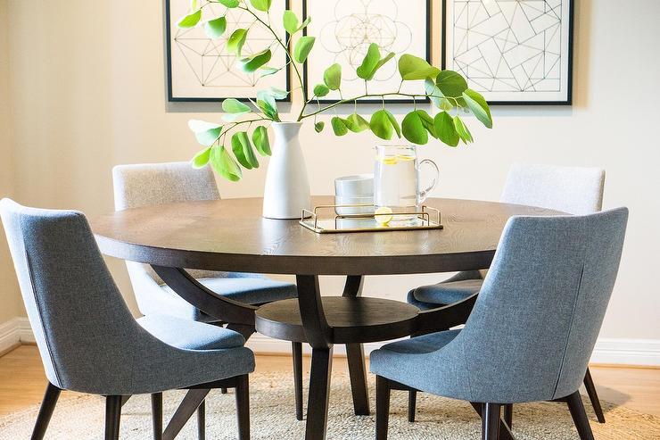 Outstanding Gray Dining Chairs At Dark Brown Round Wood Table Download Free Architecture Designs Rallybritishbridgeorg