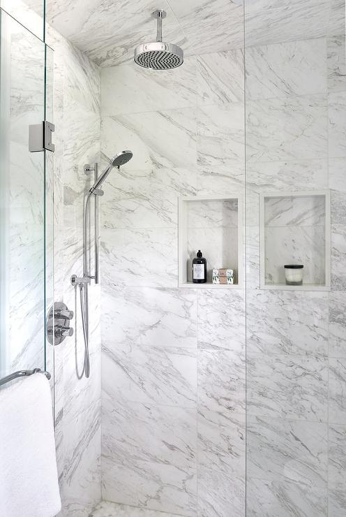 Walk In Shower With Side By Side Marble Tiled Shower