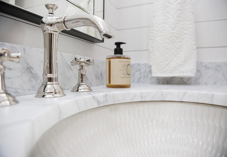 amazing marble countertop sink design and modern faucet.htm carrera marblevvanity countertop with rippled sink transitional  countertop with rippled sink