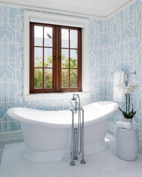 White And Blue Pagoda Wallpaper In Master Bath Transitional Bathroom