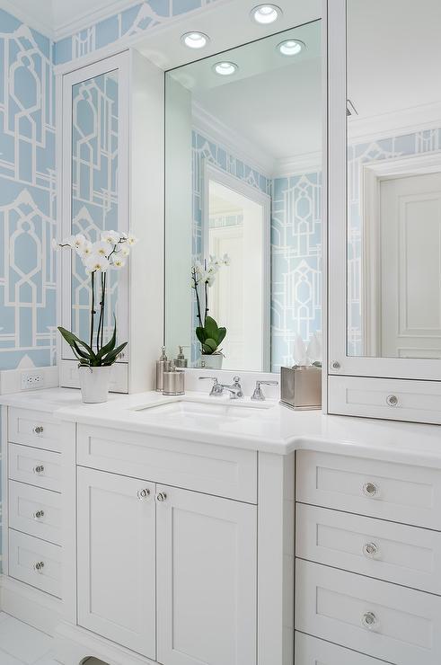 Quatrefoil Wallpaper Contemporary Bedroom Turquoise La